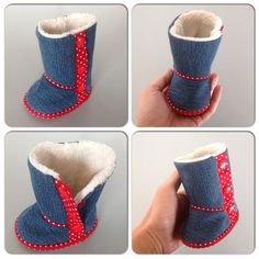 Baby boots made of recycled jeans Baby Boots, Ugg Boots, Recycle Jeans, Uggs, Recycling, Fashion, Ugg Slippers, Moda, Fasion