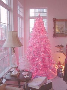 Pink Christmas Tree...these are the most Creative Christmas Trees!