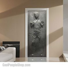 Han Solo In Carbonite Wall Decal www.coolpeopleshop.com/products/homewares/han-solo-in-carbonite-wall-decal Add a Jabba the Hutt's favorite decoration in his lair on Tattooine to your Star Wars themed room with the Han Solo Frozen Door Decal. Although it looks like it's three dimensional, it's actually just a very well done 2D decal. Can be easily removed and repositioned without causing any damage. #hansolo #starwars #walldecal #decal #doordecal #coolstuff #frozen