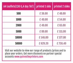 A4 Leaflet printing prices http://www.quinnstheprinters.com/A4-Leaflets