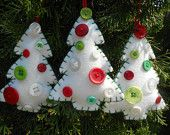 Christmas ornaments- White felt and buttons. $18.00, via Etsy.