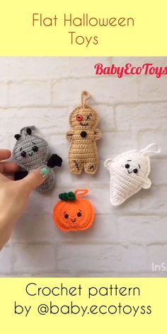 Amigurumi pattern / Crochet pattern PDF Flat Halloween toys Let me introduce the set of cutest FLAT Halloween toys – bat, pumpkin, ghost and voodoo doll! You definitely won't want to make just one,. Crochet Pour Halloween, Halloween Crochet Patterns, Halloween Toys, Crochet Patterns Amigurumi, Free Crochet Patterns For Beginners, Crochet Applique Patterns Free, Pokemon Crochet Pattern, Halloween Sewing Projects, Crochet Keychain Pattern