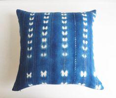 Vintage Indigo Mudcloth Pillow Cover with Metallic Threads - African Shibori Throw Pillow - Tribal Bohemian Glam