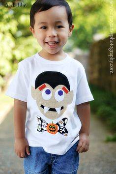 Vampire Halloween Tshirt Boy Applique Shirt Tee