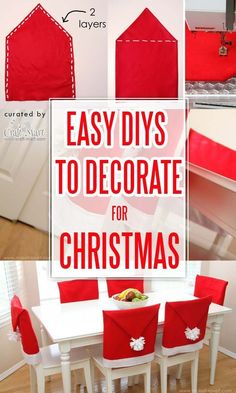 Santa Hats Chair Covers - This DIY Christmas project gets a special mention for its originality. If you dont have space at all in your small living or dining room you can still bring the holiday cheer by decorating the chairs! Christmas Chair Covers, Christmas Cover, Christmas Crafts, Christmas Sewing, Christmas Christmas, Christmas Ideas, Christmas Ornaments, Christmas Family Feud, Christmas Living Rooms