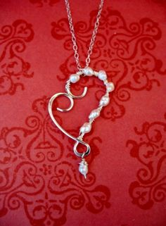 Scroll Heart Necklace with Wire-Wrapped Pearls