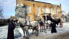 A horse-drawn carriage in a BBC production of Jane Austen's Pride and Prejudice. Owning a carriage was a symbol of wealth and status, since it meant also owning and keeping horses, employing grooms to care for the horses, as well as staff to maintain and drive the carriage.