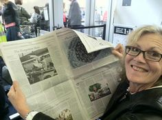 Susan Andrews, Dana's daughter, reading the Wall Street Journal review of HOLLYWOOD ENIGMA: DANA ANDREWS.