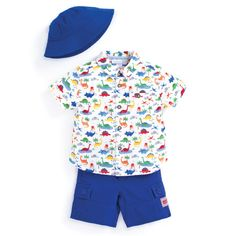 JoJo Maman Bebe - Dino shirt and shorts! Dinosaur spring outfit. #spring #boys #dinosaur