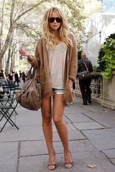Love this casual style!  Shorts, tank and a slouchy cardigan Women's fall street style fashion clothing outfit
