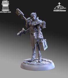 Alexandra Medic, fernando Armentano on ArtStation at https://fernando3dsculptor.artstation.com/projects/koval  40mm miniature for Sine Tempore  boardgame 3d Sculpt