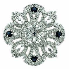 Sterling Silver Blue & White CZ Filigree Flower Pin SilverSpeck.com. $59.99. Save 45%!