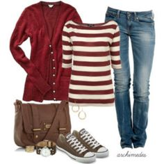Red cardigan & brown Converse outfit