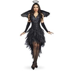 Dreamgirl Women's Luxurious Angel Of Darkness Costume Dress, Size: XL, Black Black Sequin Dress, Black Sequins, Black Angel Costume, Angel Costumes, Fairy Costumes, Elizabethan Dress, Steampunk Skirt, Fantasias Halloween, Unique Clothes For Women