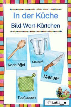 Diese Bild-Wort-Kärtchen behandeln Wörter, die in der Küche zu finden sind.  Sie eignen sich perfekt für die Wortschatz-Arbeit, als Ergänzung bzw. Hilfe beim Rezepte schreiben oder auch für DaZ-Lernende. Symbols, Letters, Map, Sentence Building, Home Economics, Pictorial Maps, Learn German, Grammar, Location Map