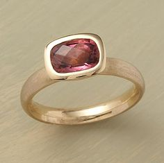 Anne Sportun chooses each pink tourmaline for the mysterious, smoky quality that distinguishes superior stones. She sets the cushion-cut gem high on an 18kt matte gold band, polishing the bezel's rim for eye-catching contrast. Handmade in Canada. Whole sizes 5 to 8.