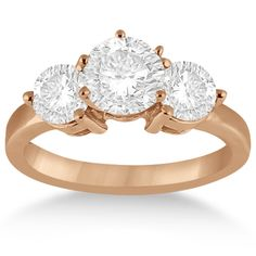 Three Stone Diamond Engagement Ring Setting 14k Rose Gold (0.50ct) - Set in a striking 14kt Rose Gold (Pink Gold) setting, this 3-stone diamond engagement ring setting adds an exquisite touch to your engagement.
