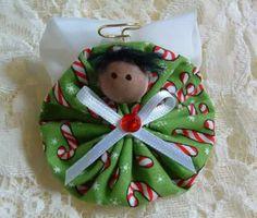 Christmas Angel Pin Handmade Fabric Yoyo by HillbillyLaceEtc Fabric Christmas Ornaments, Christmas Sewing, Christmas Items, Christmas Angels, Christmas Projects, Christmas Holidays, Christmas Decorations, Angel Ornaments, Angel Crafts