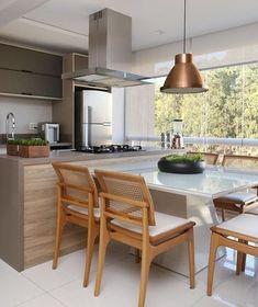 Ideas For Kitchen Design Red White Cabinets Open Plan Kitchen Living Room, Home Decor Kitchen, Kitchen Furniture, New Kitchen, Best Kitchen Designs, Modern Kitchen Design, Interior Design Kitchen, Built In Kitchen Bins, Kitchen Island Dining Table