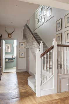The hallway's herringbone parquet has been expertly restored Staircase Banister Ideas, Small Staircase, House Staircase, Staircases, Stairs, Edwardian Hallway, Edwardian House, 1930s House, Open Plan Kitchen Living Room