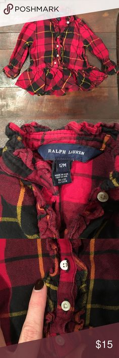 Ralph Lauren 12M plaid top Baby girl will look so chic in this! Front buttons extend down to ruffle. Buttons at sleeves. Great condition! Smoke-free, pet-free home. Ralph Lauren Shirts & Tops Blouses