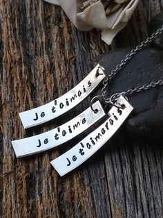 "You will receive a beautiful hand stamped ""I loved you, I love you, I always will"" necklace. The tags read ""Je t'aimais, Je t'aime, Je t'aimerais"". Makes a perfect thoughtful gift for lovers. This kee"