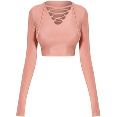 Ameria Blush Lace Up Front Crop Top ❤ liked on Polyvore featuring tops, crop top, shirts, laced up shirt, lace up front top, white crop top, shirt top and lace-up tops