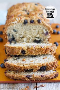 Make a change from your typical banana bread with this version filled with blueberries and coconut and topped with a crunchy streusel topping.