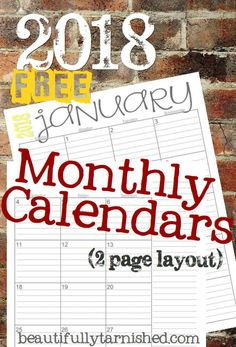 2018 (2-Page) Monthly Calendars FREE | Beautifully Tarnished