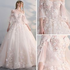 Elegant Champagne Wedding Dresses 2017 Ball Gown Off-The-Shoulder Sleeve Backless Appliques Flower Pearl Sequins Chapel Train - Bridal Gowns Princess Wedding Dresses, Dream Wedding Dresses, Bridal Dresses, Wedding Gowns 2017, Ball Dresses, Ball Gowns, Evening Dresses, Flower Dresses, Long Prom Gowns