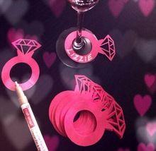 12 PCS Charms de vin vin balises Tags de nom diamant anneaux verre marqueurs de mariée mariage Engagement douche Bachelorette Party(China (Mainland))