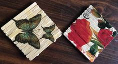 Popsicle stick wall art using decoupage: This is very inexpensive and easy craft which decorate our wall. Butterflies coming for beaut...