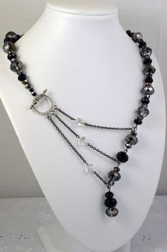 Black and Silver Crystal Adrienne Adelle Signature Necklace. Design Copyright adrienneadelle.com