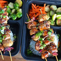 """Here's my  TERIYAKI CHICKEN KABOBS (meal prep  Of course I took out the wooden skewers before putting lids on.  Juicy- Chicken breast Rice Raw - Carrots…"""