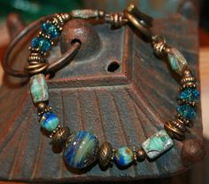 Artisan Boro Lampwork Bead and Czech Glass Bracelet by gettagift, $41.00