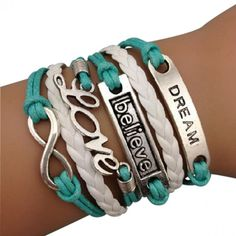 Turquoise Dream, Believe, and Love Forever Arm Party Bracelet