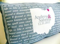 Personalized Couples Song Lyrics Pillow. Makes a perfect Wedding Gift, Engagement Gift or Anniversary Gift, Christmas Gift or Anytime! S P E C I F I C S Design: Two Sided (Front + Back) -Size: 12″ X 2