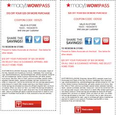 Pinned October 22nd: $10 off $25 & more at #Macys #coupon via The #Coupons App