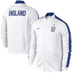 Nike England Full Zip Track Jacket - White is available at Kitbag US. Shop for all the top soccer gear for men, women, and kids. England Soccer Jersey, England Football, Nike Clothes Mens, Team Jackets, Soccer Gear, Football Outfits, Blackpink Fashion, Nike Outfits, Mens Clothing Styles