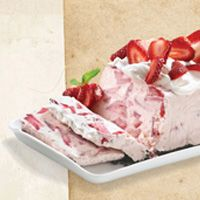Strawberries, cool whip, sweetened condensed milk, lemon juice, oreos frozen in a loaf pan- how can you go wrong, I ask?