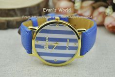 Navy Blue Leather Charm Watch Unisex Watches Fashion by Evanworld, $5.99 Fashion handmade leather watch