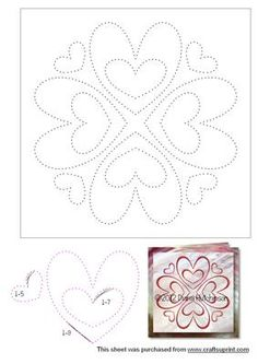 - A large stitch or prick hearts circular pattern for Valentine's Day. Fits an square card. Embroidery Cards, Embroidery Patterns, Card Patterns, Stitch Patterns, Punched Tin Patterns, Candlewicking Patterns, Arte Linear, String Art Templates, Sewing Cards