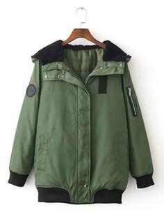 0542dd49e01 Women Hooded Zipper Long Sleeve Casual Pilot Jackets Fausse Fourrure