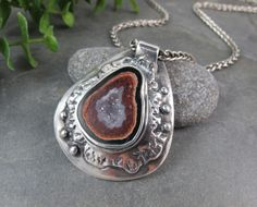 Lisa Barth  |  Small geode bezel, set in fine-silver metal clay pendant.