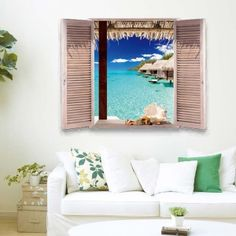 Removable 3D Stereo Seascape Window Design Wall Stickers - OCEAN BLUE