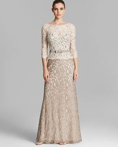 Tadashi Shoji Gown - Three Quarter Sleeve Lace Belted on shopstyle.com