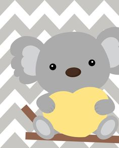 Yellow and gray nursery Nursery Koala Art Koala baby shower