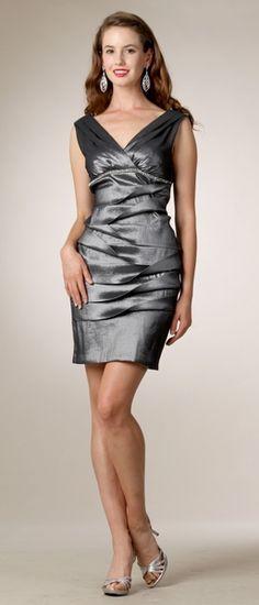 Taffeta Dark Silver Short Semi Formal Dress V-Neck Sleeveless $108.99