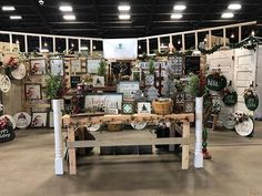 We are set up and ready for this weekend! Christmas Wood, Christmas Signs, Vintage Market Days, Craft Fair Displays, Booth Ideas, Door Hangers, Craft Fairs, Oklahoma, Wood Signs