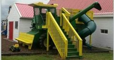 Combine playground a great idea for kids but would do international harvestor not John deere
